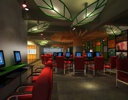cyber cafe with decor interior 3d model