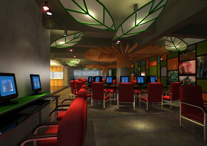 cyber cafe with decor interior 3d model max 1