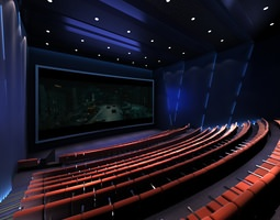 3d model theater with brown seats and blue interior