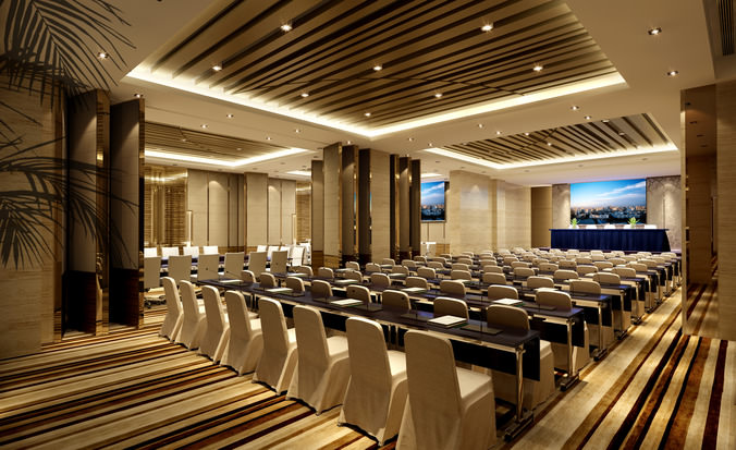conference hall with posh striped carpet 3d model