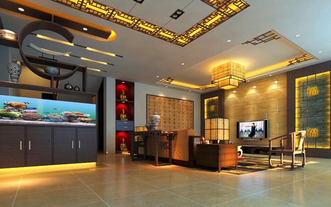 living room with aquarium 3d model max 1