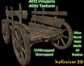 3D model game-ready Wheel Cart - Textured