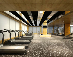 Spacious Smart Gym with Treadmills 3D