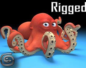 cartoon Octopus 3D model rigged
