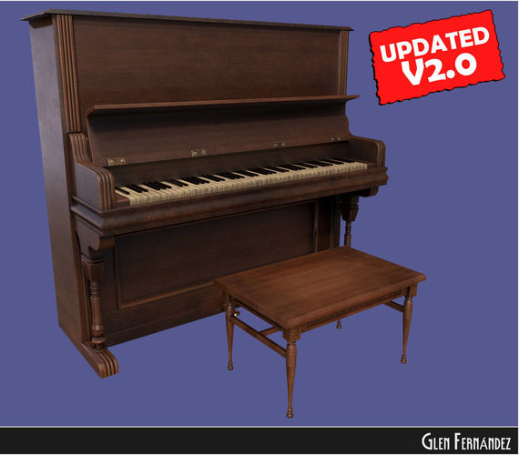 old victorian wooden upright piano low poly -updated 3d model low-poly obj fbx ma mb mtl unitypackage 1