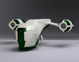 3d model rigged space gunship