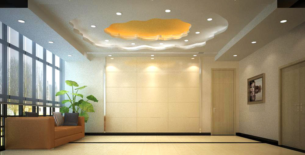 Elevator space with yellow ceiling decor 3d model max for Decor 3d model