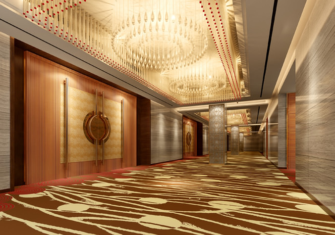 3d model corridor with luxury door decor cgtrader - Corridor decoratie ...
