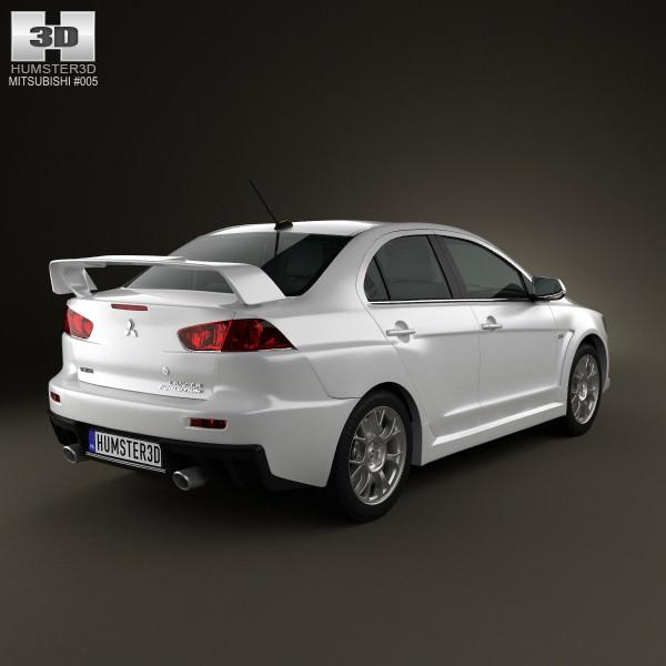Mitsubishi Lancer Evolution X: Mitsubishi Lancer Evolution X 3D Model .max .obj .3ds .fbx
