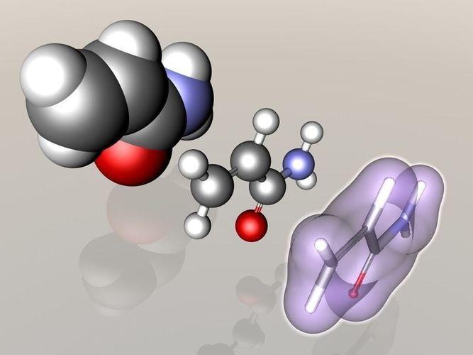 acrylamide molecule 3d model c4d wrl wrz 1