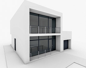 Minimal Modern House With Garage 3D model