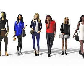 Low Poly Girls Pack 3D asset