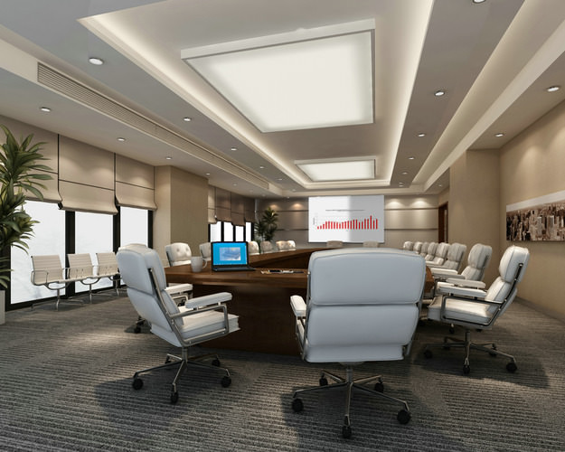 Conference Hall With Large Ceiling Light 3D Model MAX
