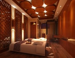 3D SPA Room with Wooden Decor Partitions