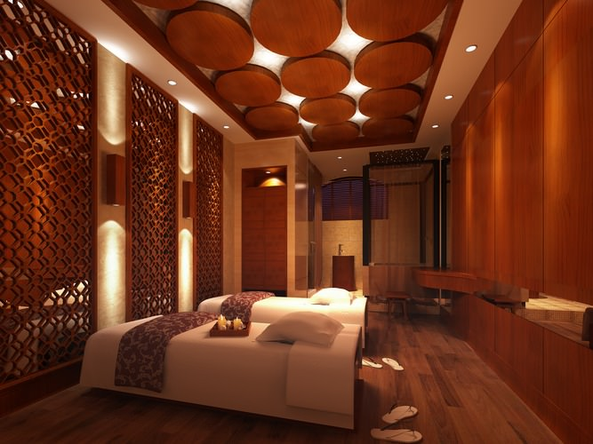 3d spa room with wooden decor partitions cgtrader for Hotel decor items