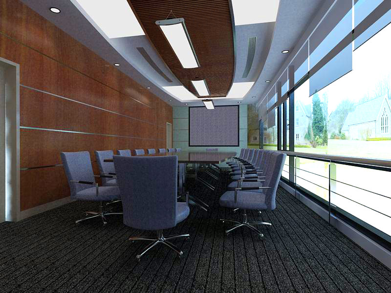 Conference Room with Designer Carpet and Wall 3D model MAX