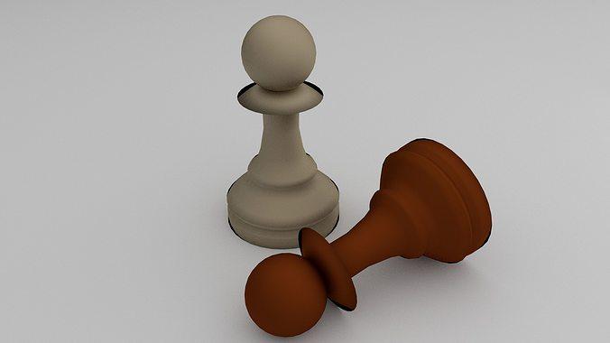 chess pawn 3d model obj mtl 3ds fbx blend dae 1