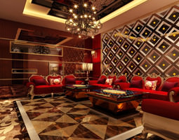 3D Lounge with 3 Designer Chandeliers