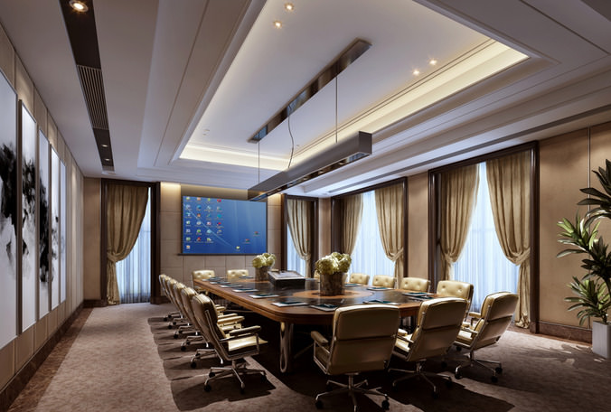 3d Conference Room With Elite Wall Art Cgtrader
