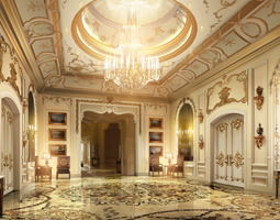lobby with luxury decor 3d model
