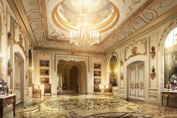 lobby with luxury decor 3d model max obj 3ds fbx mtl 1