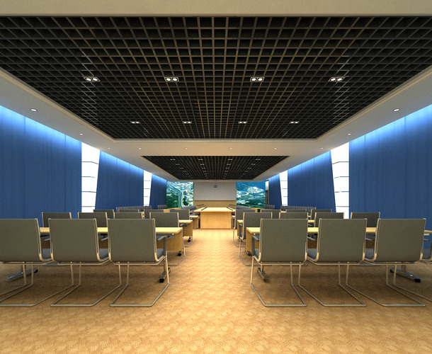 conference hall with elite wall decor 3d model max 1