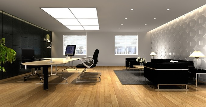Gentil Office With Elite Wall Decor 3D Model