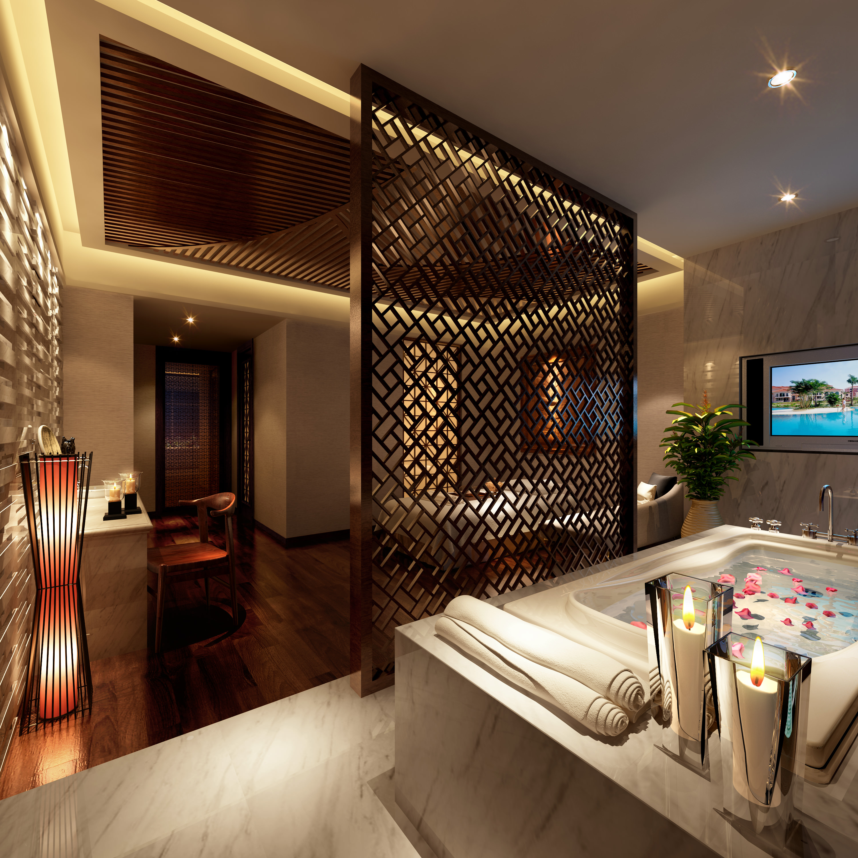 Wooden Partition spa room with designer wooden partition 3d model