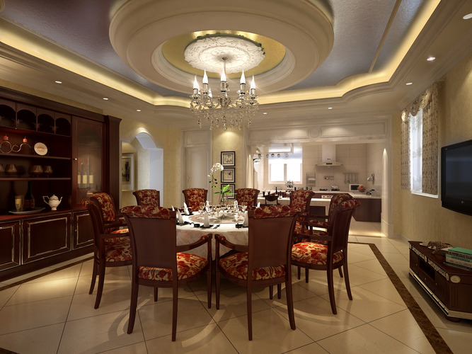 Luxury dining room with high end decor 3d model cgtrader for Dining room 3d model