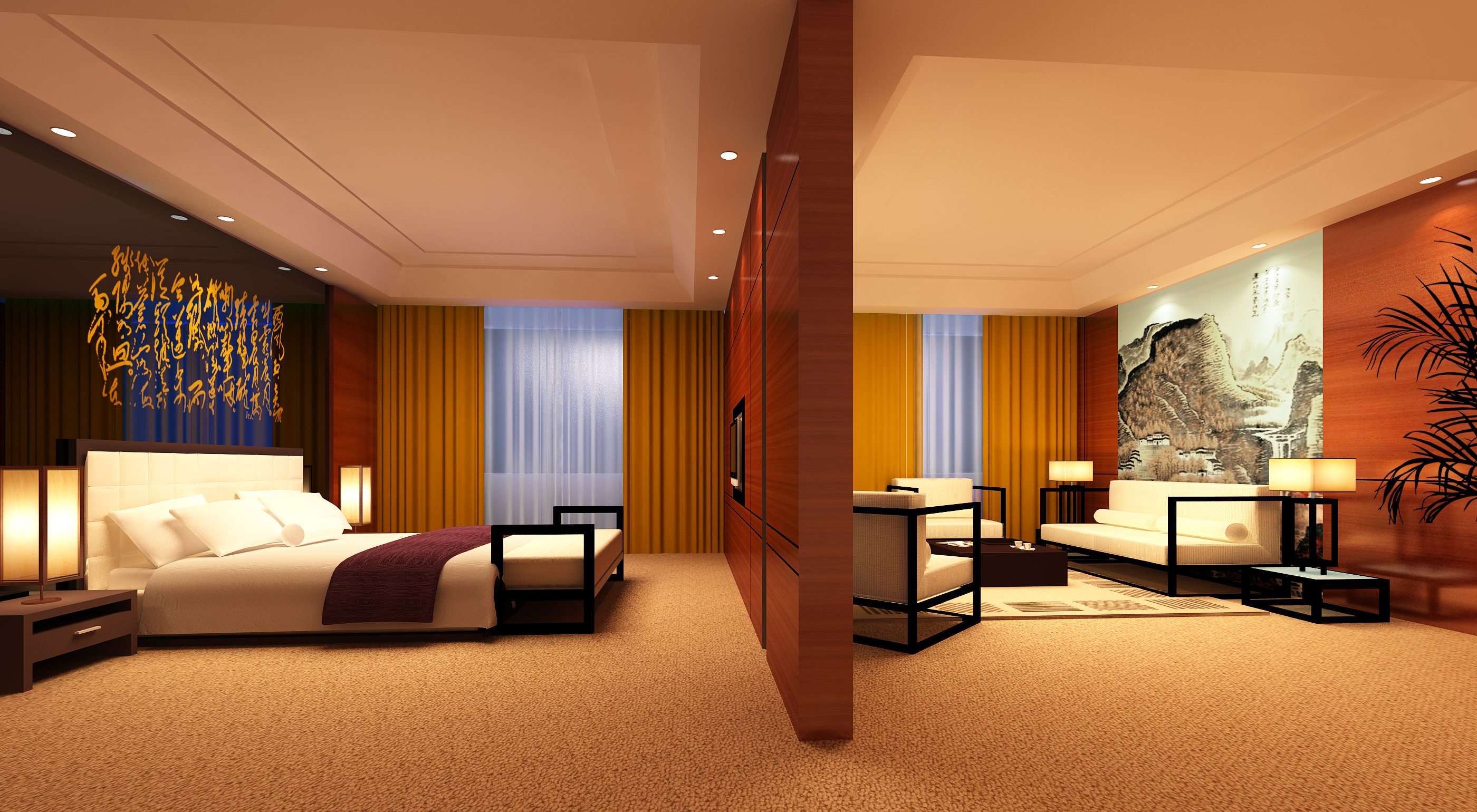 Guest Room with High end Wooden Partition 3D model MAX