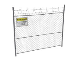 3D asset Damaged Metal Fence with Sign