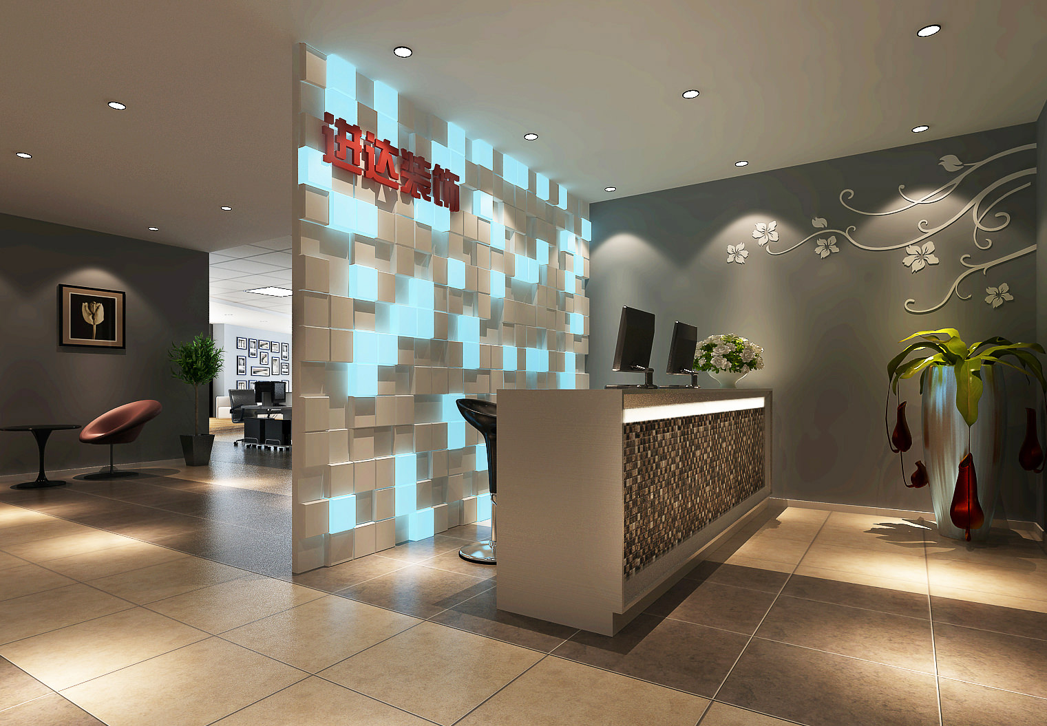 office reception interior. High-end Office Reception Area 3d Model Max 1 Interior