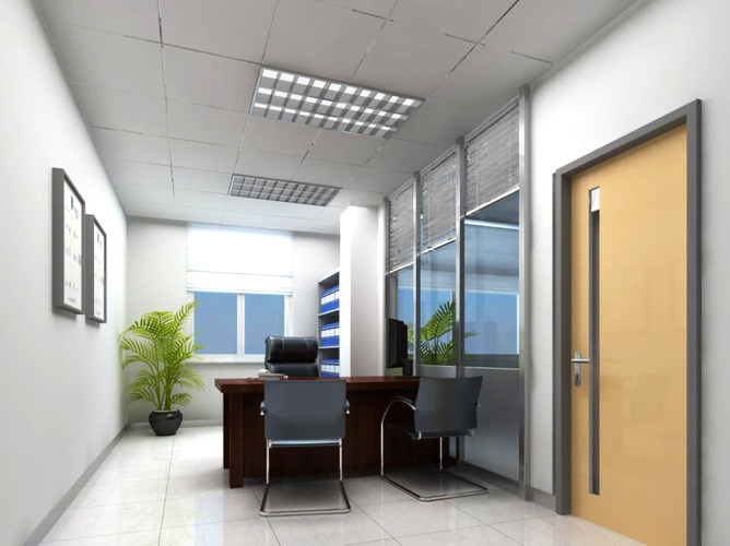 office space with tree decor 3d model max 1