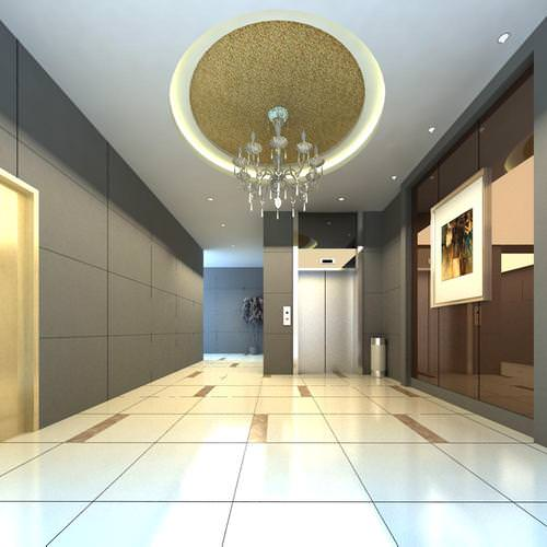 elevator hall with chandelier 3d model max 1