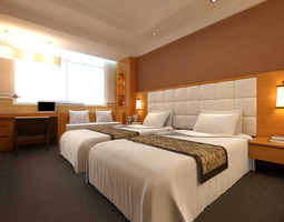 3D Fully Furnished Twin Bed Guest Room 006