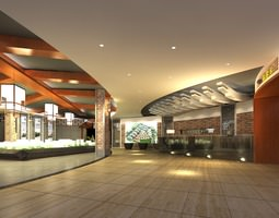 3d lobby with wooden ceiling decor