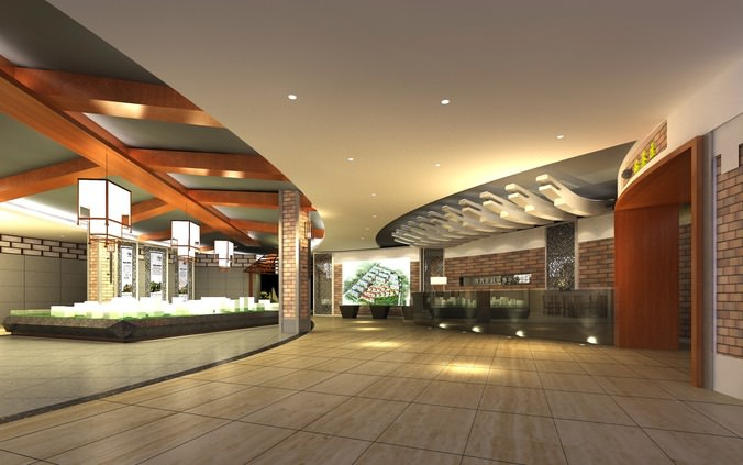lobby with wooden ceiling decor 3d model max 1