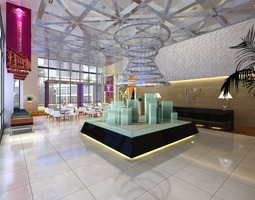 lobby with decorated false ceiling 3d