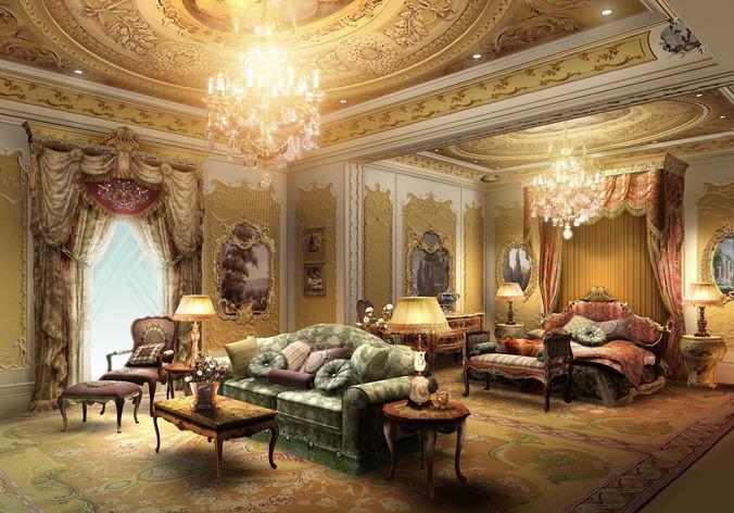 3d Luxury Suite With Designer Walls Cgtrader