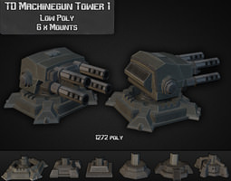 3d model VR / AR ready td machinegun tower 01