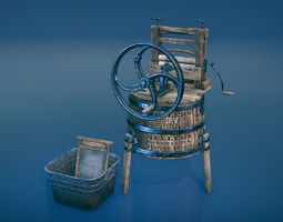 Western washing machine and washboard 3D asset