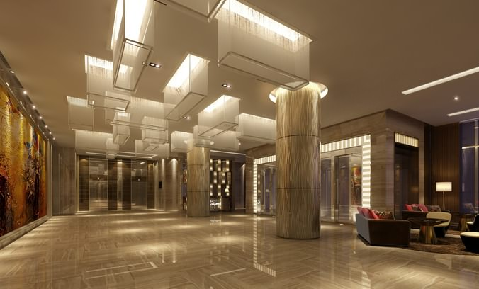3d Model Hall With Fancy Ceiling Lights Cgtrader