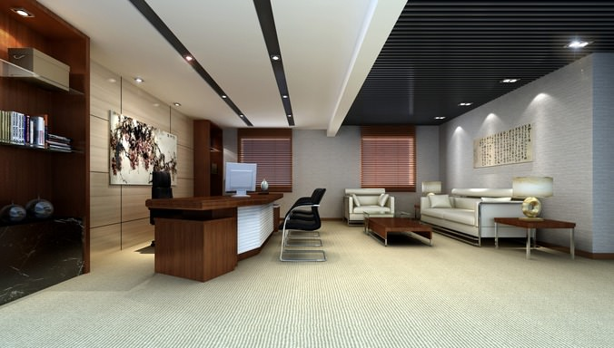 Superbe Office With Black Ceiling Decor 3D Model