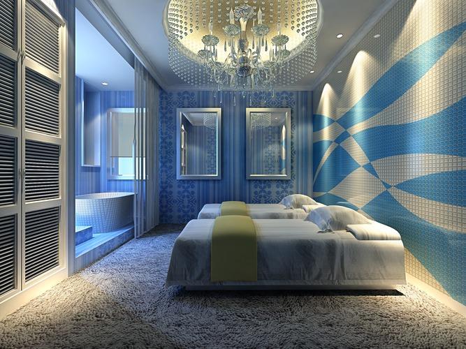 spa room with designer interior 3d cgtrader. Black Bedroom Furniture Sets. Home Design Ideas