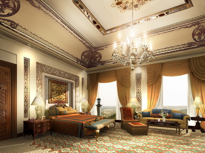 luxury suite with flowery wall and carpet 3d model max 3ds 1