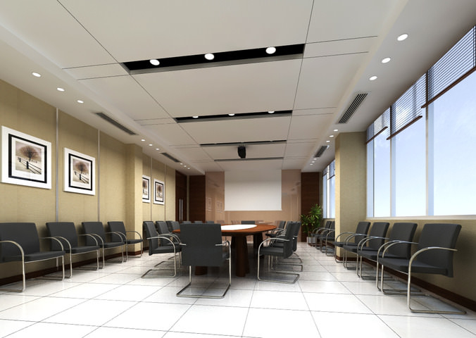 3d Conference Room With Projection Wall Cgtrader