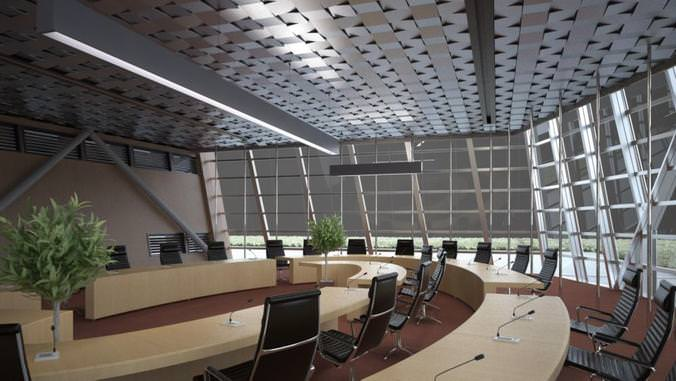 conference chamber with exquisite decoration 3d model max 1