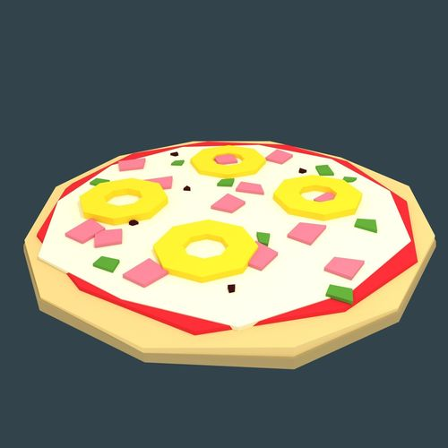 low-poly stylized pizza hawaii 3d model low-poly obj fbx blend mtl 1