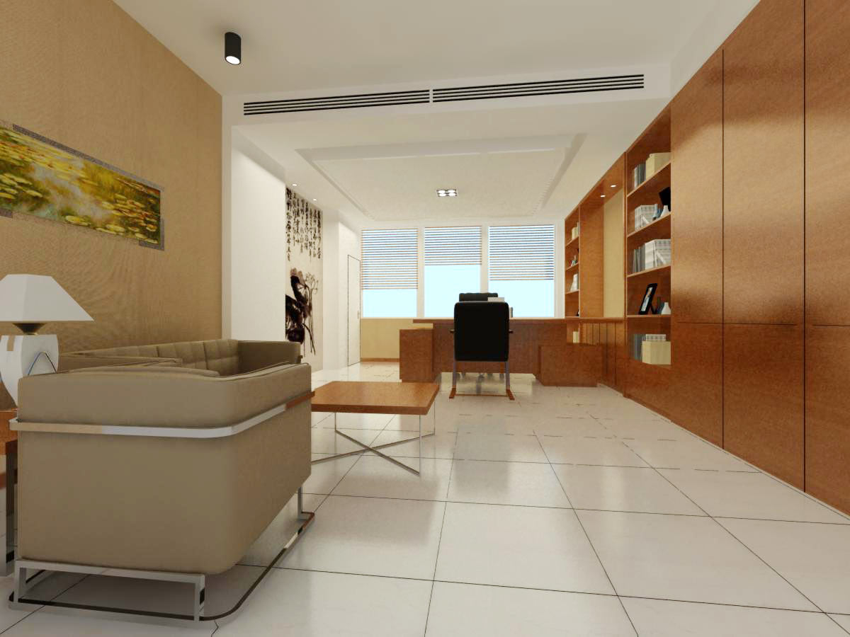 Office space with wooden furniture 3d model max - Sofas small spaces model ...