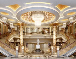 3d model luxurious lobby with dual staircase